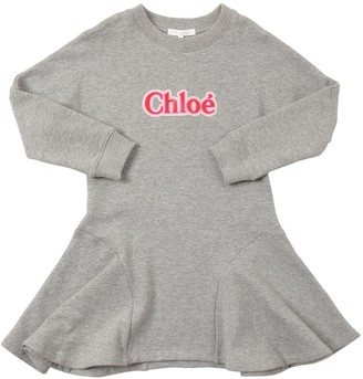 Chloé Logo Print Cotton Sweatshirt Dress