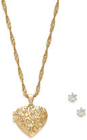 Charter Club Gold-Tone Locket Necklace and Earrings Set, Only at Macy's
