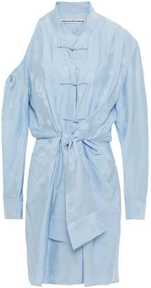 Alexander Wang Cold-shoulder Knotted Silk-jacquard Mini Dress