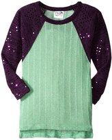 Erge Sweater (Toddler/Kid) - Teal/Purple-6X