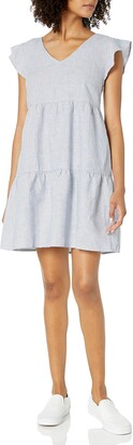 Goodthreads Washed Linen Blend Flutter Sleeve Peasant Dress