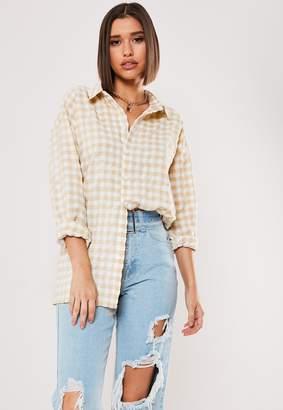 Missguided Yellow Gingham Oversized Shirt