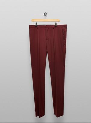 Topman BIG & TALL Burgundy Skinny Fit Suit Trouser