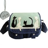 Micom Korean Style 4 Embroidered Cute Cats Polka Dots Lace Canvas Cross Body Handbags Messager Bags for Women,girls with Micom Zipper Pouch