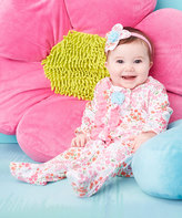 Baby Essentials Pink Floral Footie & Headband - Infant