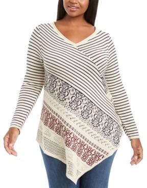 Belldini Plus Size Point-Hem Striped Sweater