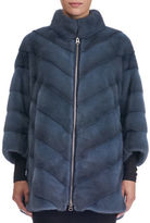 Gorski Zip-Front Short-Nap Mink Fur Jacket