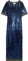 By Malene Birger Lines Sequined Stretch-mesh Maxi Dress - Blue