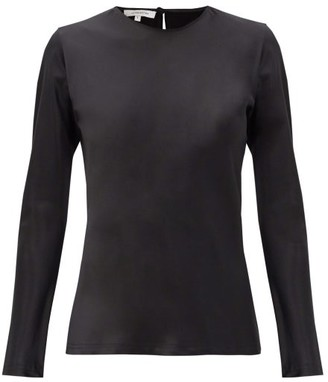LA COLLECTION Cybele Silk-charmeuse Long-sleeved Blouse - Black