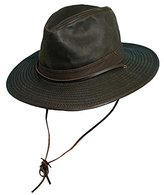 Dorfman Pacific Men's 1 Piece Cotton Weathered Finish Leather Band Binding Hat With Chin Cord