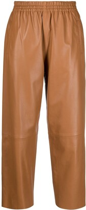 Pinko High-Rise Leather-Effect Cropped Trousers