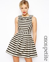 Asos Exclusive Striped Skater Dress - Black/ecru