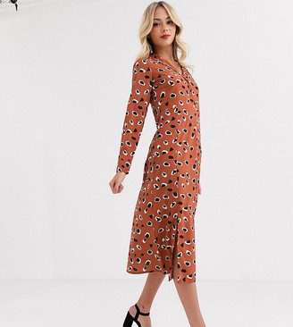 Wednesday's Girl long sleeve midaxi dress in abstract animal spot