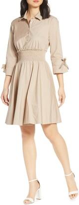 Eliza J Smocked Waist Cotton Stretch Poplin Shirtdress