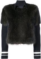Vera Wang striped detail fur jacket