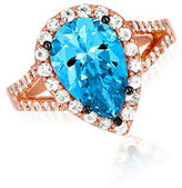 LeVian Blue Topaz, White Sapphire and 14K Rose Gold Ring
