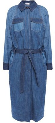 Brunello Cucinelli Belted Bead-embellished Denim Midi Shirt Dress