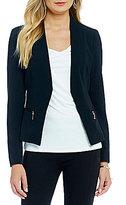 Ivanka Trump Zip Pocket Open Front Crepe Jacket