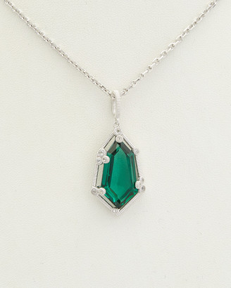Judith Ripka Martinique Silver 11.18 Ct. Tw. Green Quartz Pendant Necklace