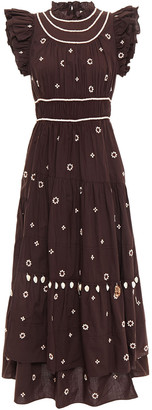 Ulla Johnson Zemora Asymmetric Tiered Embellished Cotton-voile Midi Dress