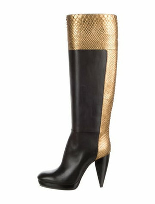 Lanvin Leather Colorblock Pattern Boots Black