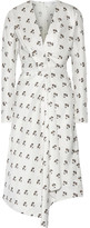 Victoria Beckham Asymmetic Wrap-effect Printed Satin-twill Midi Dress - Off-white