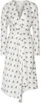 Victoria Beckham Asymmetic Wrap-effect Printed Satin-twill Midi Dress - Off-white