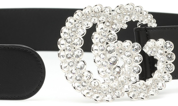Thumbnail for your product : Gucci GG crystal-embellished leather belt
