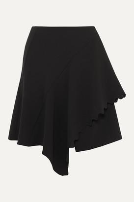 Chloé Asymmetric Scalloped Crepe Mini Skirt - Black