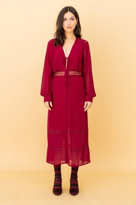 Liena The Kipling, Lacetrim Midi Dress in Burgundy