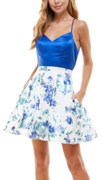 City Studios Juniors' Back-Bow Fit & Flare Dress