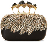 Alexander McQueen Black Stone Four Ring Box Clutch