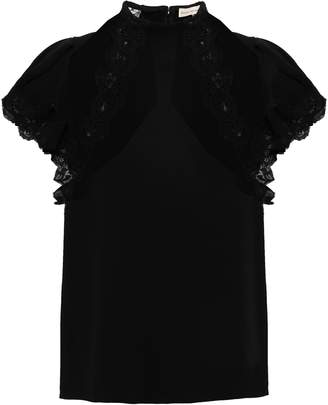 Rebecca Taylor Lace-trimmed Crepe Top