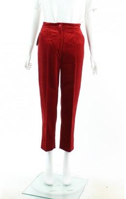 Dolce & Gabbana Red Velvet Trousers
