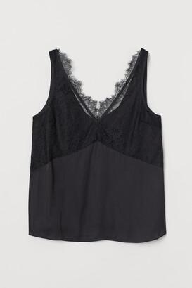 H&M Lace-detail Satin Top
