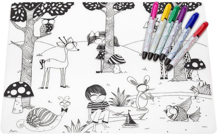 Modern Twist Kidz Silicone Placemat & Markers Set, Day at the Pond