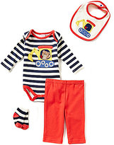 Starting Out Baby Boys Newborn-9 Months Bulldozer/Striped 4-Piece Layette Set