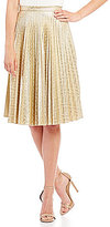 Eva Franco Pleated Metallic Skirt