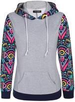 ACEVOG Women's Floral Printed Long Sleeve Hooded Pullover Hoodies Sweatshirt(XXL)