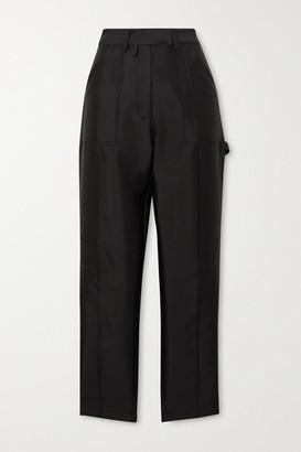 Christopher John Rogers - Silk And Wool-blend Faille Straight-leg Cargo Pants - Black