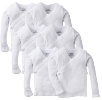 Gerber White Long Sleeve Side Snap Shirt with Mitten Cuffs, 6pk (Baby Boys or Baby Girls, Unisex)