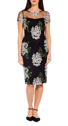 Adrianna Papell Hydrangea Embroidery Sheath Dress