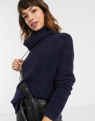 Esprit oversized high neck knitted jumper in navy