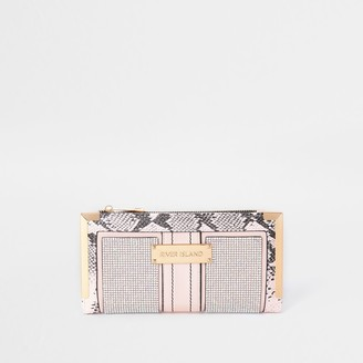River Island Womens Pink snake print purse