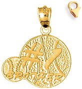 JewelsObsession Gold-Plated 925 Sterling Silver 23mm Brother Charm w/ Lobster Clasp