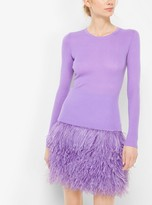 Michael Kors Feather-Embroidered Boucle Tweed Skirt