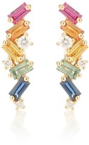 Suzanne Kalan Rainbow Fireworks 18kt gold earrings with diamonds and sapphires