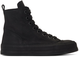 Ann Demeulemeester SSENSE Exclusive Black Suede High-Top Sneakers
