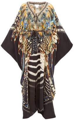 Camilla Lost Paradise-print Silk Kimono - Black Multi