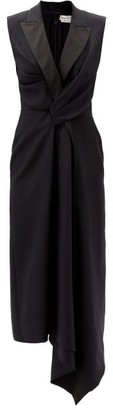 Alexander McQueen Gathered Asymmetric Wool-blend Tuxedo Dress - Black